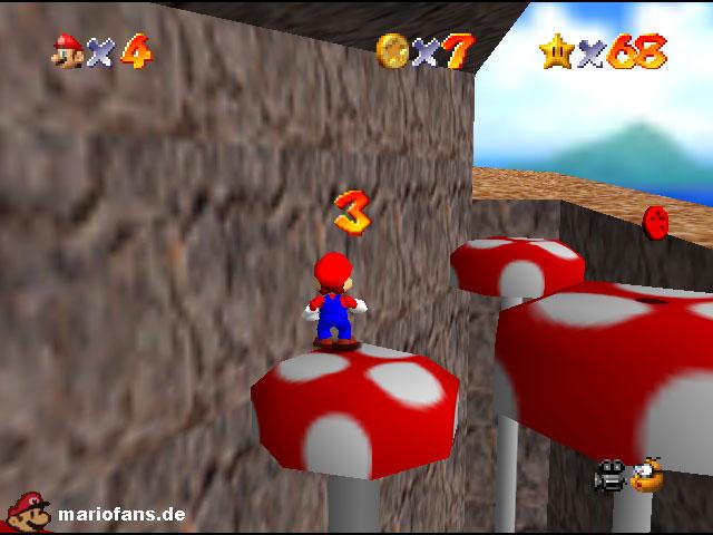 Super Mario 64 Komplettlösung Fliegenpilz Fiasko